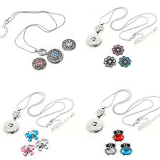 3PCs Rhinestone Flower Snap Pearl Buttons 1PC Silver Pendant Necklace Jewelry