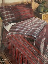 TARTAN RED PLAID King Bed Skirt Dust Ruffle Plaid Christmas NEW REVERSIBLE NOS