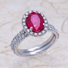 Halo Diamond and Lab Grown Ruby Engagement Ring in 14k White Gold 9x7mm Oval