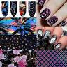 Holographisch Nagelfolie Nail Art Folie Stickers Maniküre Plaid Muster Dekor Tip