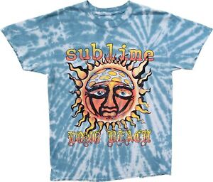 New Men's Sublime Vintage Graphic Long Beach Blue Tie Dye T-Shirt Retro Tee