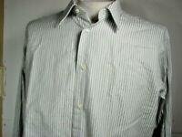 Ermenegildo Zegna  Men's 16 1/2 Black White Striped Long Sleeve Shirt