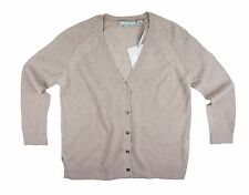 New Nwt REPEAT Cashmere Size S 100% Cashmere Sand Beige Mesh Cardigan Sweater