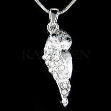 w Swarovski Crystal Snowy Owl Wise Teacher Bird Charm Chain Necklace Jewelry New
