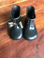 Mini Melissa Girls Black with Gold Glitter Bow Rain Boots Size 7 *Missing 1 Bow*