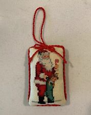 Vintage Completed Cross Stitch Christmas Ornament Victorian Santa Candy Cane