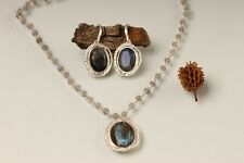 OR PAZ .925 Sterling Silver Labradorite Necklace & Earring, Made in Israel