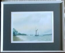 PETER HILLIARD - 'OFF PIN MILL, SUFFOLK' SIGNED. 1980. ORIGINAL WATERCOLOUR.