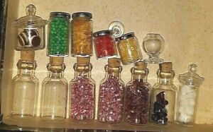 LG LOT GLASS DOLLHOUSE STORE MINIATURE CANNED FOOD COOKIE CANDY JARS LOT