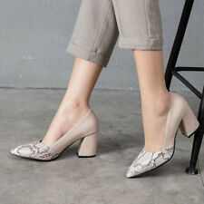 Women Formal Pointy Toe Block Heel Elegant Office Splice Color Slip On Shoes