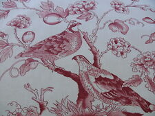 CLARENCE HOUSE RAMBOUILLET TOILE BIRD CHINOiSERIE PRINT ROUGE RED BTY #1518