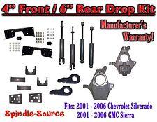 "2001 - 2007 Chevy Silverado GMC Sierra 1500 4WD  4"" / 6"" Drop Kit, Shocks, NOTCH"