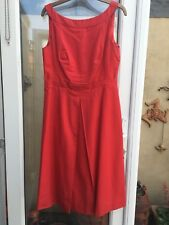 Monsoon Red Cotton Formal Shift Dress Evening Occasion UK 12