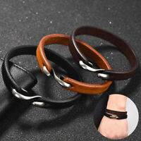 New Fshion Genuine Leather Bracelets Stainless Steel Hook Bangle for Women Men