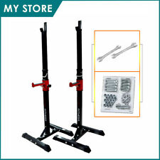 2-pcs Adjustable Squat Rack Bench Press Power Weight Rack Barbell Stand Gym Home