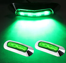 2X Truck Car LED Side Marker Universal 4 Green Lens Clearance Turn Signal Lights