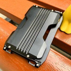 Slim Aluminum Card Holder for Men RFID Metal Mens Pocket Wallet Lanyard Gift
