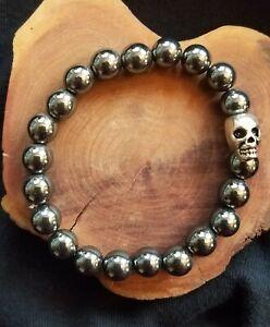 Black Hematite Beads, 8mm, Silverplated SKULL, Stretchy Bracelet, Magical,REIKI!