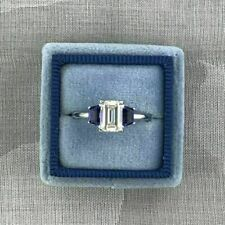 Emerald Cut Diamond Engagement Ring 14k White Gold Certified 2.30Ct White & Blue