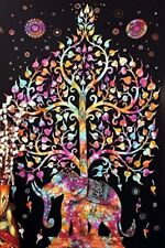 Hand Made Wall Hanging Tree Of Life Elephant Tapestry Bohemian Throw Bed Decor