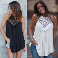 Women Fashion Lace Vest Top Sleeveless Blouse Loose Tank Cami Loose Tops T-Shirt