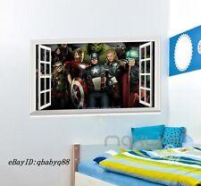 Large Marvel Avengers Hulk Thor Captain 3D Window Wall decor Sticker Kids Gift