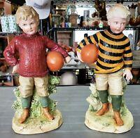19th Century German Gebruder Heubach Bisque Young Boy Football Player Figurines