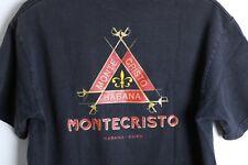 Vintage Montecristo Premium Cuban Cigars Red Gold Logo Men's Black T-Shirt Sz M