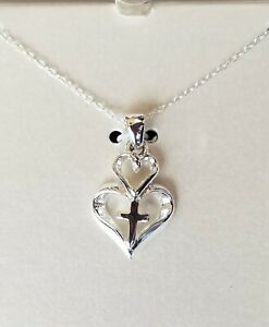 Sterling Silver Cross in a Heart Necklace on 18 inch chain (Faith, Hope, Love)