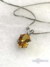 925 Sterling Silver pendant created 1ct. Citrine golden Chain Necklace Jewelry @