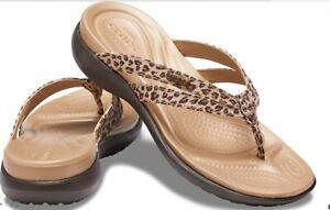 Crocs Capri Leopard Flip Sandals