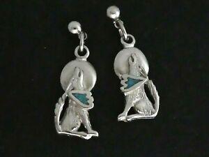 BEAUTIFUL Pewter & Turquoise Howling Wolf & Moon Drop EARRINGS - Pierced