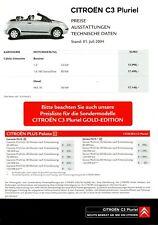 Citroen C3 Pluriel Preisliste 2004 1.7.04 Preise Ausstattungen Technische Daten