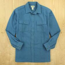 L.L. BEAN chamois flannel camp work shirt, size LARGE, blue faded distressed