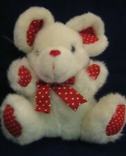 VTG White Mouse Red Heart Feet Paws Ears 31P12 Stuffed Animal Toy Mice Valentine