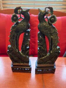 Old Chinese Hardstone/Jade Carved Birds on wood stands (pair)