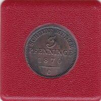 3 Pfennig Preussen 1870 C Frankfurt Wilhelm I Prussia prima Erhaltung