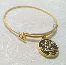 Chrysalis Expandable Christmas Santa Theme Gold Tone Charm Bangle Bracelet