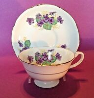 Royal Grafton Pedestal Cup And Saucer - Purple Violets - Gold Accents- England