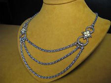 CHAIN NECKLACE BARBARA BIXBY 3 STRANDS FLOWER DIAMOND SS 18K COUTURE BYZANTINE