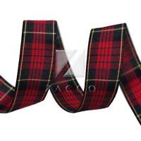 10 Yards Tartan Ribbon Gingham Plaid Woven Ribbon DIY Craft  25mm