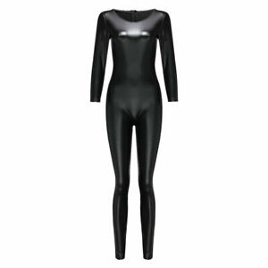 Black Stretchy Faux Leather Zip Back Club Tights Unitard Catsuit Jumpsuits W2108