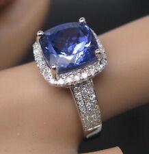 Ladies 18K White Gold Natural Cushion Cut Blue Tanzanite Engagement Diamond Ring
