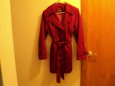 New, Liz Claiborne, Cherry-Red, Trench Coat (size 8P) w/Hood & Double Collar