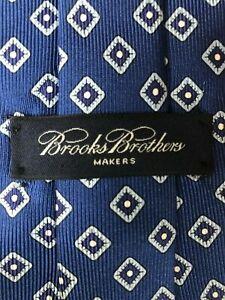 Brooks Bros tie - 100% silk - blue white diamond Father's Day Drakes Marinella