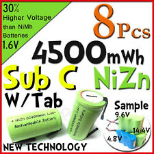 8 Sub C 4500mWh 1.6V Volt NiZn Rechargeable Battery Cell Pack With Tab Green