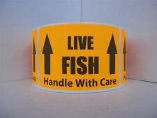 LIVE FISH HANDLE WITH CARE Sticker Label fluorescent orange bkgd 50 labels