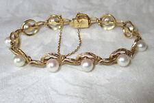 "Mikimoto Vintage 14K Yellow Gold Engraved Link Bracelet 6.5-7"" Length 13.9 Grams"