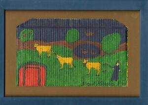 Hazel Kinney Folk Art Painting Rural Scene With Cows, pen & paint on corrugated