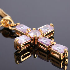 Xmas Gift Wedding jewel CROSS CUT TANZANITE YELLOW GOLD 18GP PENDANT NECKLACE